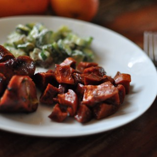 Tamarind glazed sweet potatoes