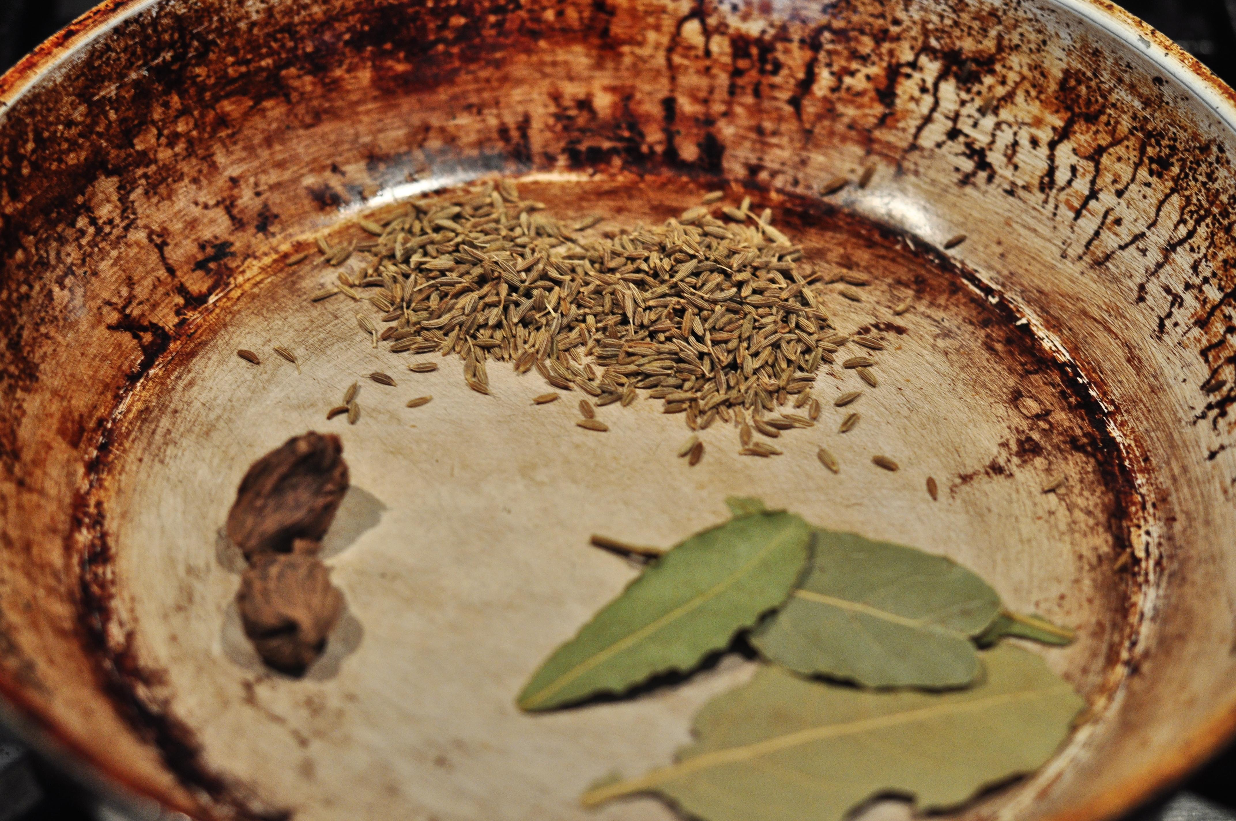 bay leaves, cumin, green cardamom